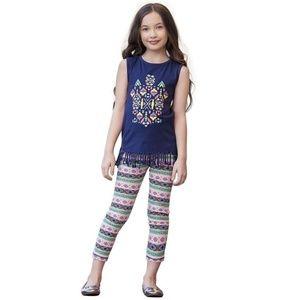 Girls Boutique Tribal Fringe Tunic & Capri Legging